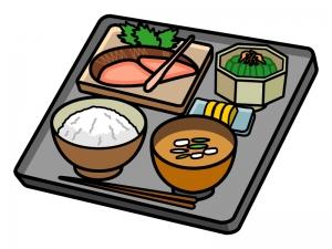焼き魚・鮭定食のイラスト