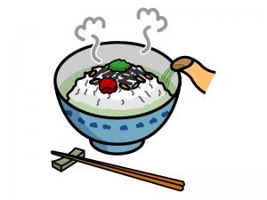 お茶漬けにお湯を注いでいるイラスト