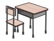 学校の机と椅子のイラスト02