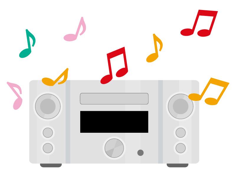 音楽が鳴ってるステレオコンポのイラスト