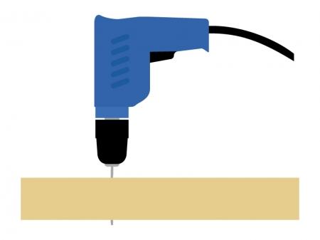 電動ドリルで穴を開けるイラスト