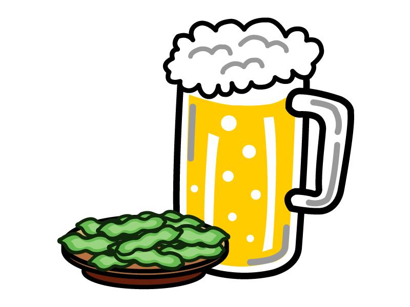 生ビールと枝豆のイラスト