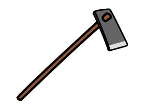 農機具の鍬(くわ)のイラスト
