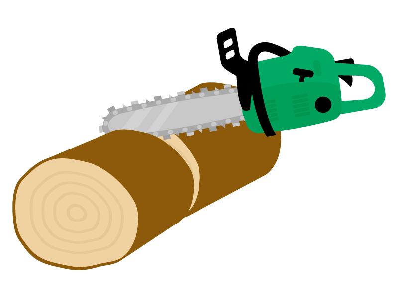 チェーンソーで丸太を切るイラスト