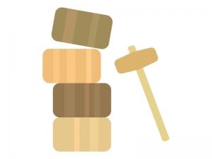 木製のだるま落としのイラスト