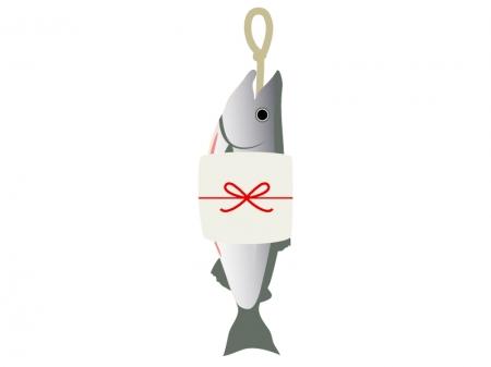 お歳暮の新巻鮭のイラスト