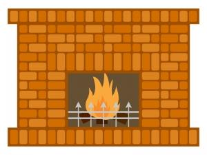 レンガの暖炉のイラスト