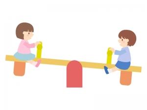 シーソーで遊ぶ子どものイラスト