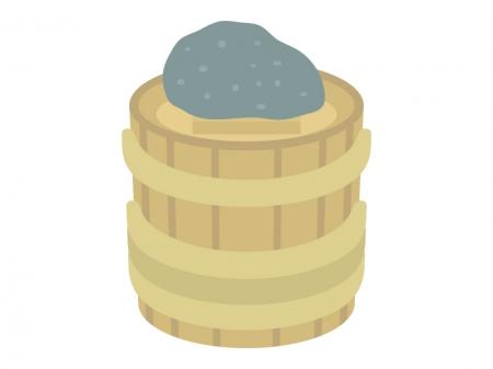 重石の乗った漬物樽のイラスト