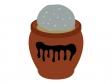 重石の乗った漬物容器(丸壺)のイラスト