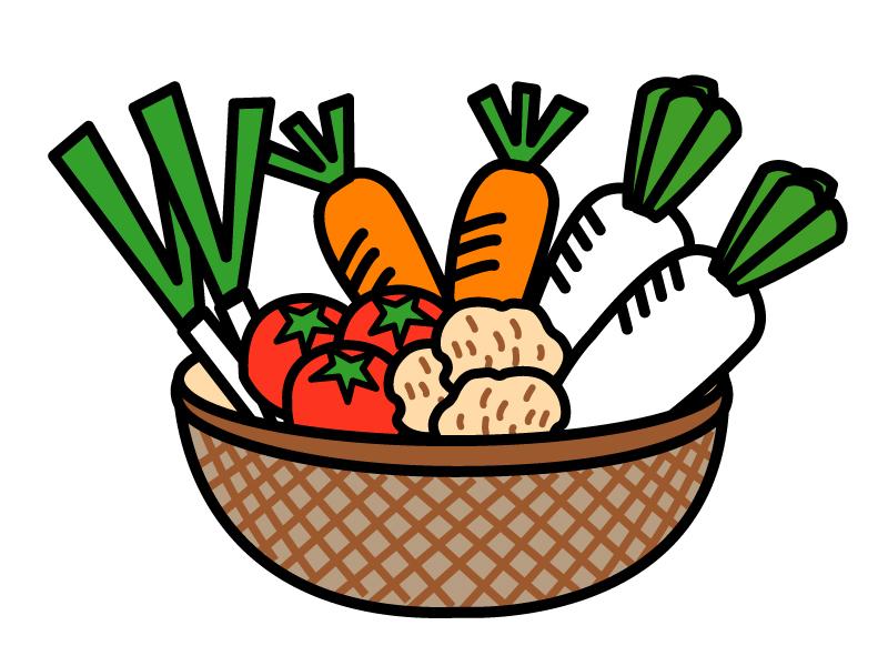 かご盛り野菜のイラスト