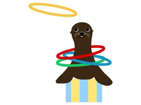 輪投げで芸をするアシカのイラスト
