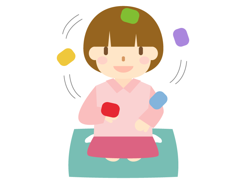 子供がお手玉で遊んでいるイラスト