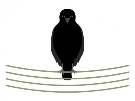 電線にとまっているカラスのイラスト