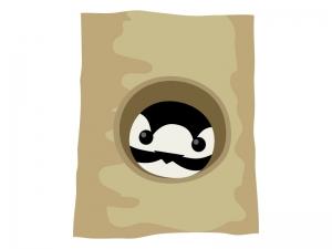 巣穴に入っているキツツキ(アカゲラ)のイラスト