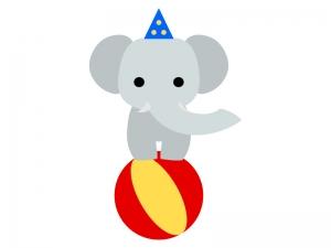 サーカス・ボールに乗って芸をする象のイラスト