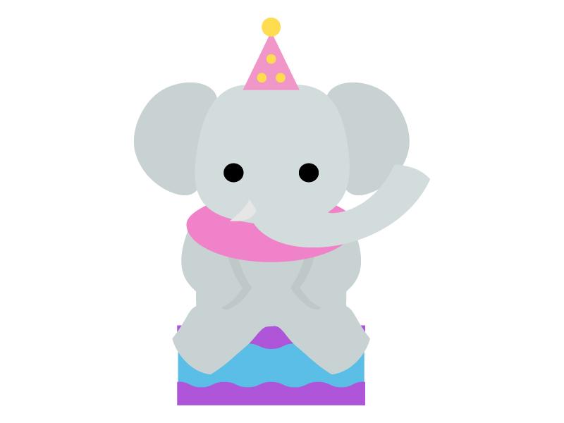 サーカス・台の上でお座りする象のイラスト