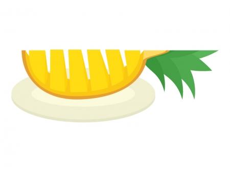 カットしたパイナップルのイラスト