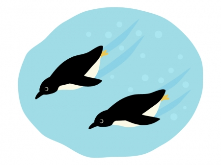 泳ぐペンギンのイラスト