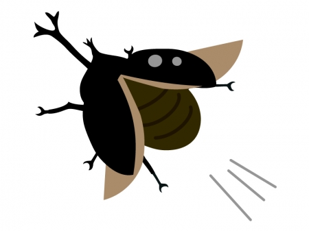 飛んでいるカブト虫のイラスト