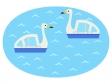 湖に浮かぶスワンボートのイラスト