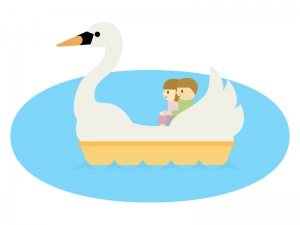 スワンボートに乗っているカップルのイラスト