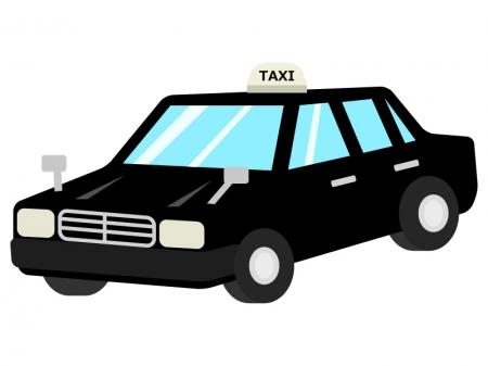 黒色のタクシーのイラスト