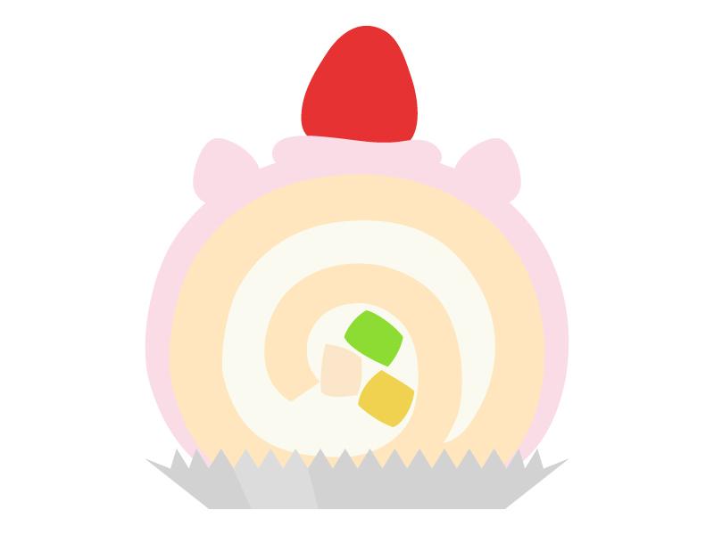 いちごのロールケーキのイラスト