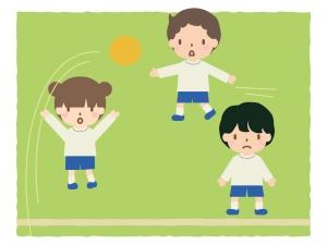 子供達がドッジボールをしているイラスト