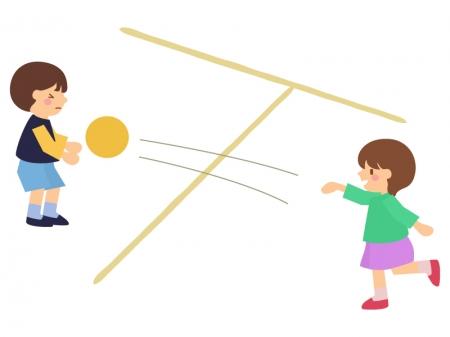 子供達がドッジボールをしているイラスト02