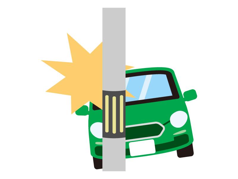 自動車の電柱へ追突事故のイラスト