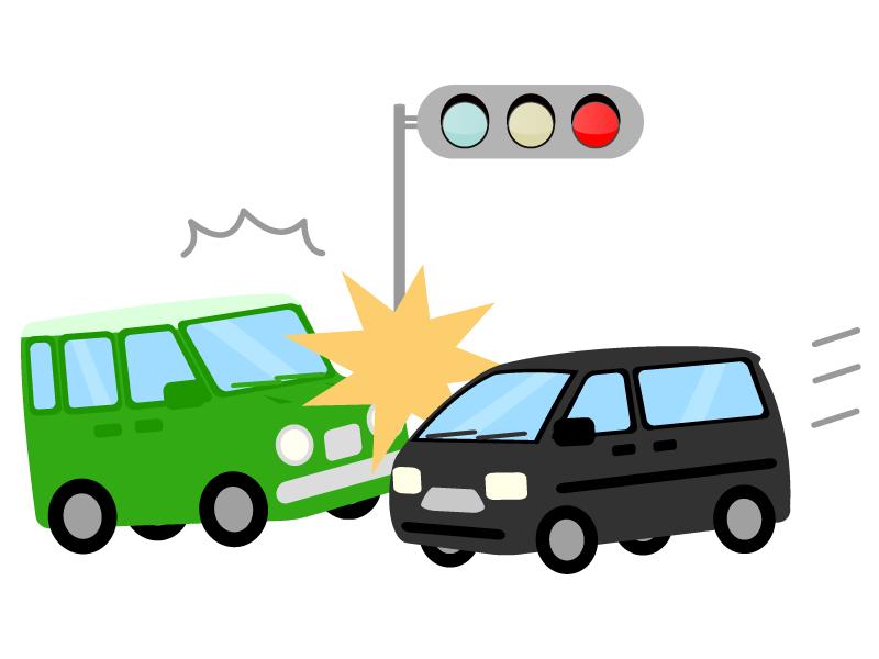 自動車の交差点事故のイラスト