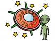 UFOと宇宙人のイラスト