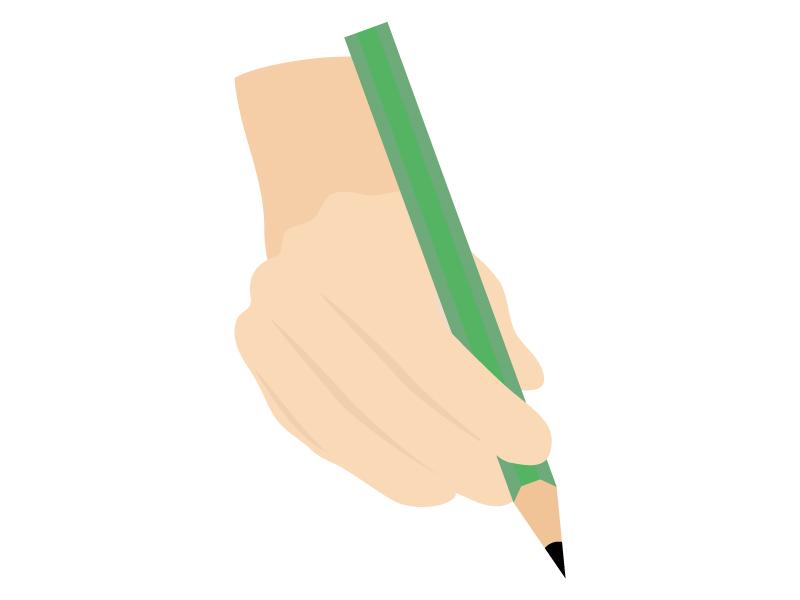 鉛筆を持つ手・持ち方のイラスト02