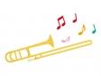 音符とトロンボーンのイラスト