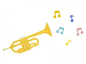 音符とトランペットのイラスト