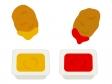 二種類のソースのチキンナゲットのイラスト