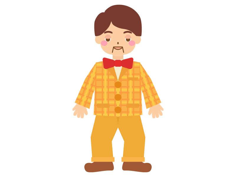 腹話術の人形のイラスト