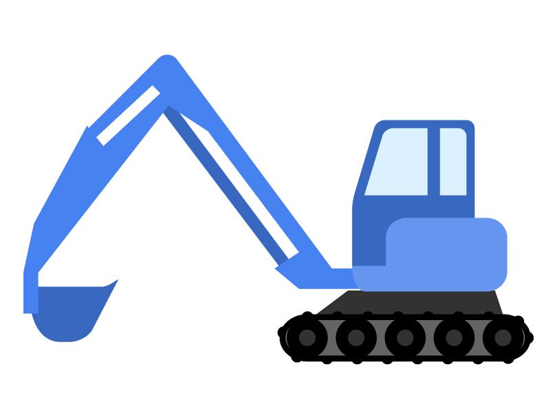 青いショベルカーのイラスト