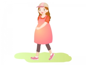 妊婦さんの散歩のイラスト