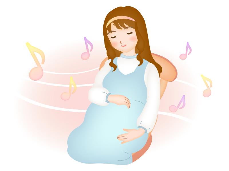 胎教に音楽のイラスト