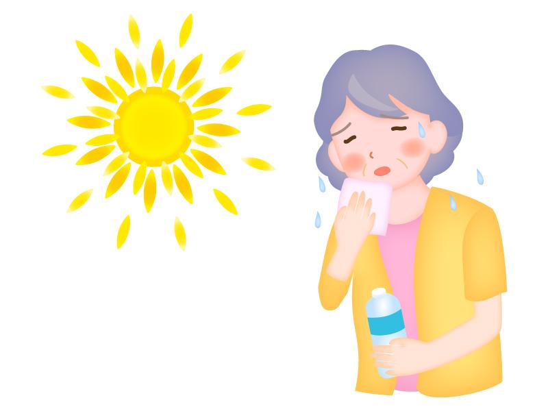 お年寄りの熱中症に注意のイラスト