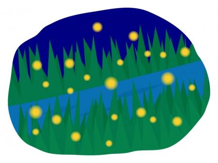 夜の川辺でホタルが飛んでいるイラスト