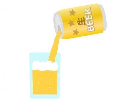 缶ビールをグラスに注ぐイラスト