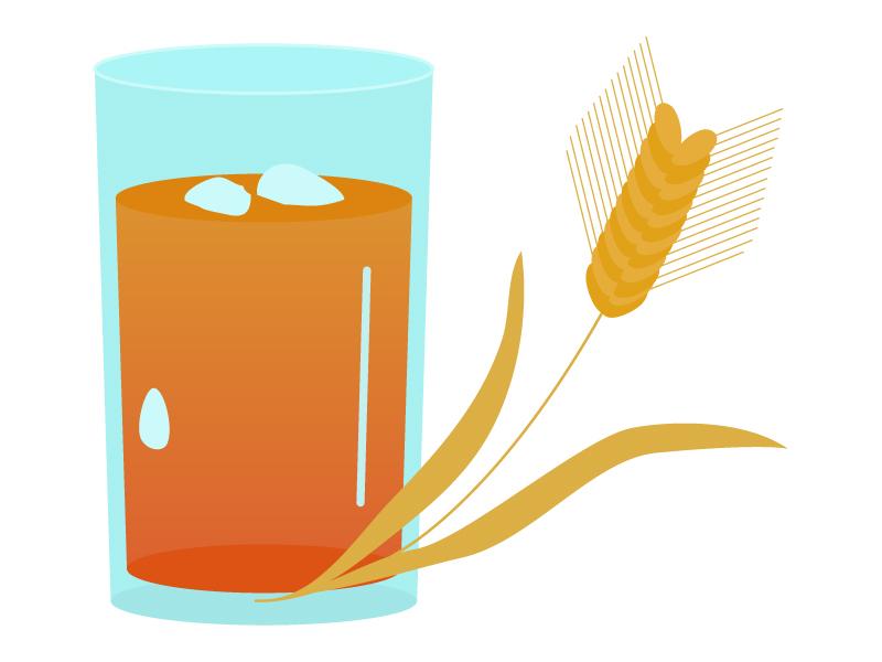 麦穂と麦茶のイラスト