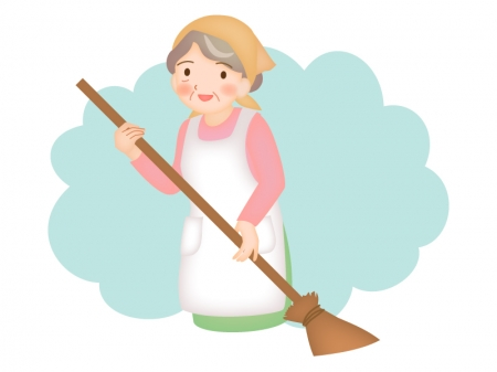 シルバー人材・掃除のイラスト
