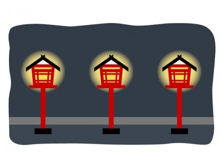 灯篭と灯りのイラスト