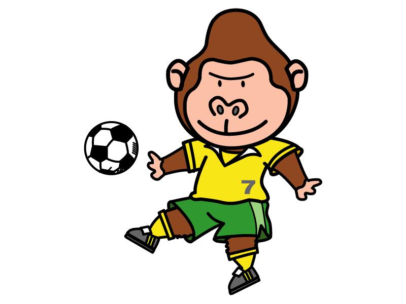 サッカーをしているゴリラのイラスト