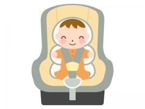 チャイルドシートと赤ちゃんのイラスト
