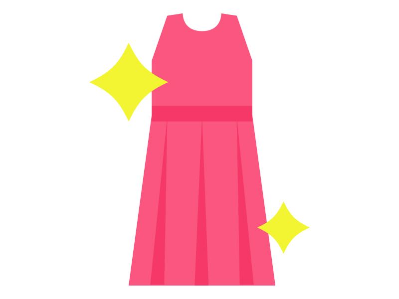 クリーニングしてピカピカのドレスのイラスト
